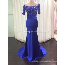 Wholesale Elegant Dresses Design Scoop Neck Sheath Royal Blue Satin Sequined Keyhole Back Short Sleeve Evening Dress C12
