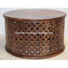 Mango Wood Ethnic Wooden Carving Round Coffee Table