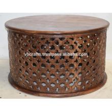 Mesa de café redonda de escultura de madeira de madeira de manga Mango