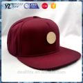 simple metal badge 5 panel burgundy snapback cap