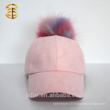 Chapeau de base-ball en daim rose personnalisé à la mode avec Pom Pom Pomme