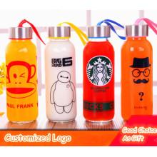 Подгонянные логос различной конструкции Спортивная стеклянная бутылка воды спорта бутылка