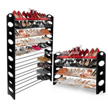 Hot sale 50 pairs folding stacked plastic shoe rack with 10 tiers