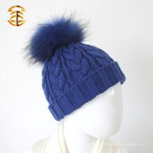Moda invierno cálido piel de ante Pompom Beanie Earflap niños Beanie Cap Kids Knit Hat