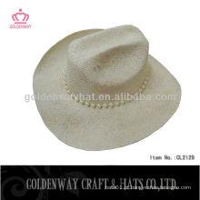 Venda por atacado novos chapéus de cowboy de palha de papel de moda com contas