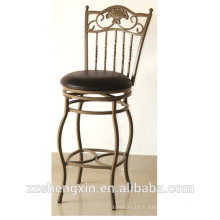 Chaise de bar pivotante K / D, tabouret de dossier à dossier en métal avec coussin