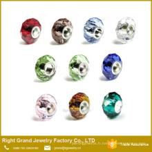 Gros gros trou Spacer perles de verre à facettes perles de charme européen pour Bracelet collier