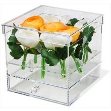 Boîte-cadeau acrylique pour fleur avec tiroir
