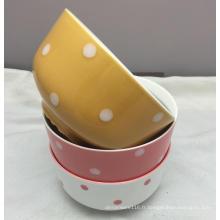 """Couleur en relief 5.5 """"bol en céramique de salade profonde pour l'usage à la maison"""