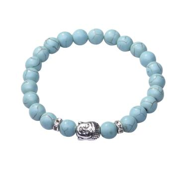 Turquoise 8MM Gemstone Buddhism Prayer Beads Bracelet Buddha Jewelry