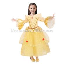 Belle princesse robe robe de couleur jaune bébé fille princesse