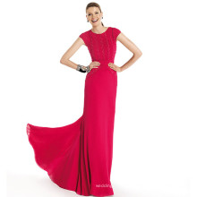 HC4207 The Whole Sale A-line Wine Red Cap Sleeve Floor Length Beaded Embroidered Evening Dresses for Cocktail