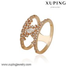 14885 xuping tendance produit nouvelle conception anneau de luxe en plaquage 18k avec alliage de cuivre pour les femmes