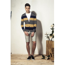 100%Cotton V-Neck Striped Knit Men Cardigan Knitwear with Button