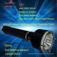 Linterna led linterna led recargable Tactical buceo linterna led de gran alcance
