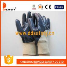 Revestimiento de algodón de calidad Ce Revestimiento de nitrilo en guantes de palma y dedo Dcn306