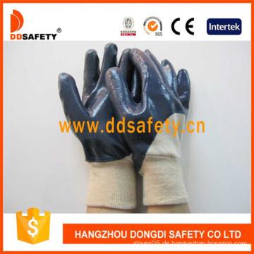 Cotton Blue Nitrile Handschuh Gestrickte Handgelenksicherheit Handschuhe (DCN306)