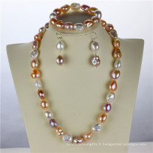 Snh 12mm AA Mixed Color Freshwater Wedding Real Pearl Set