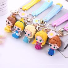 2022 Promotional Car Key Handbag Accessories Gift Key Ring Custom Kawaii Cute Cartoon 3D PVC Princess keychains
