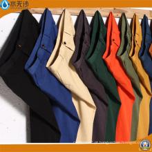 Calças de algodão de cor de sarja