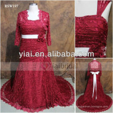 RSW197 Big Size Red Lace Wedding Dresses With Sleeves