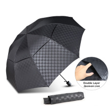 Double Layer Dark Grid Big Umbrella Rain Women Men 3Folding 10K Windproof Business Umbrellas Male Parasol Family Travel Paraguas