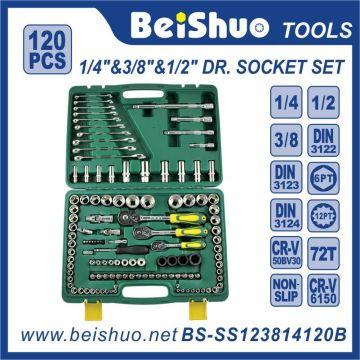 120 PCS 1/4 '' 3/8 '' 1 / 2''dr. Cr-V Handwerkzeuge Sockel Set
