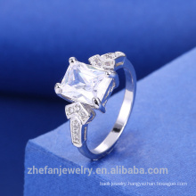 Rhodium Plated White Square Zirconia Ring With Best Price High Quality