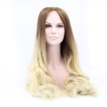 Cheap Extra Long Synthetic Lace Front Wig Heat Resistant Wavy Dark Root Brown to Blonde Wig Natural Wig