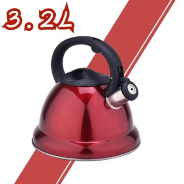 Espejo rojo de acero inoxidable Whistling Tea Kettle