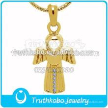 Angle Wing Urn Ashes Pendant, pendentif souvenir de crémation en acier inoxydable avec collier de 18 po