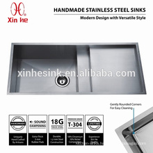 Stainless Steel Square Topmount Handmade Kitchen Sink with Drainer Drainboard