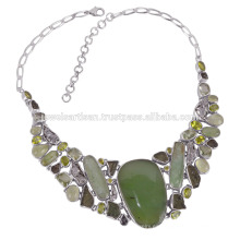 Meteorito Moldavite Prehniten Collar de plata esterlina Collar de piedra verde