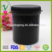 Cylindre HDPE protéine en poudre récipient en plastique noir avec couvercle en gros 1000ml