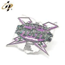 Cheap silver shape enamel metal glitter lapel pin badge from china