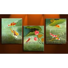 Современное искусство ручной работы ручной работы в обрамлении живописи маслом Koi Fish на холсте (AN-024)