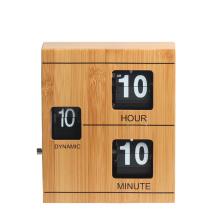 Bamboo flip clock with book shape