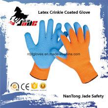 10g Baumwolle Palm Blue Latex Crinkle Finish Beschichtete Sicherheit Arbeitshandschuh