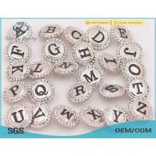 Nova chegada prata metal stud botões de imprensa, botão de pressão de cristal jóias