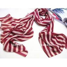 Newest 100 Chiffon velvet polyester stripe scarf 2015