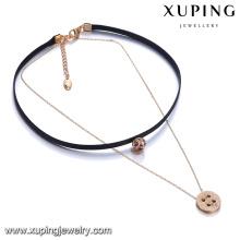 44120 Última joyería de la señora de la moda dos capas encanto de oro de la aleación y collar de cadena de cuero con colgante de piedra de colores
