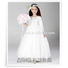 2016 new design winter party wear flower girl dress one piece long sleeve floor length 1-6 years old baby girl dress for wedding