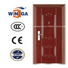 Bom preço Madeira marrom Cor Exterior Porta de aço de segurança (WS-110)