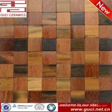 el diseño rústico del producto de la venta caliente mezcló la teja de mosaico de madera sólida