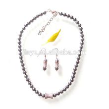 Fashion Zircon Pearl Necklace Earrings Jewelry Set