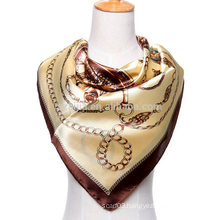 Fashion print polyester square chains silk satin scarf