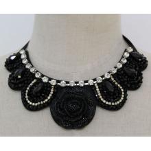 Леди мода цветок из бисера Кристалл костюм ювелирные изделия ожерелье (JE0120)
