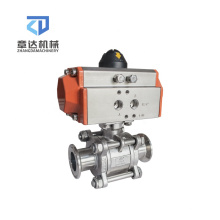Sanitary ball valve 2 way 3 way Aluminum tri Clamp Pneumatic  3/4 in 1 in 2 in 3 in 4 in Three-piece actuator