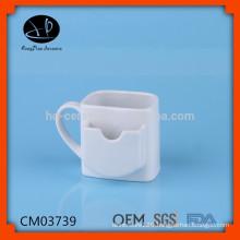 ceramic mug with tea bag holder,ceramic mug for cookie ,porcelain tea mug