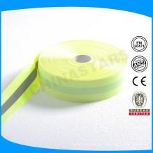 Boa qualidade 5cm reflexivo flourescent poliéster fita para vestuário de segurança